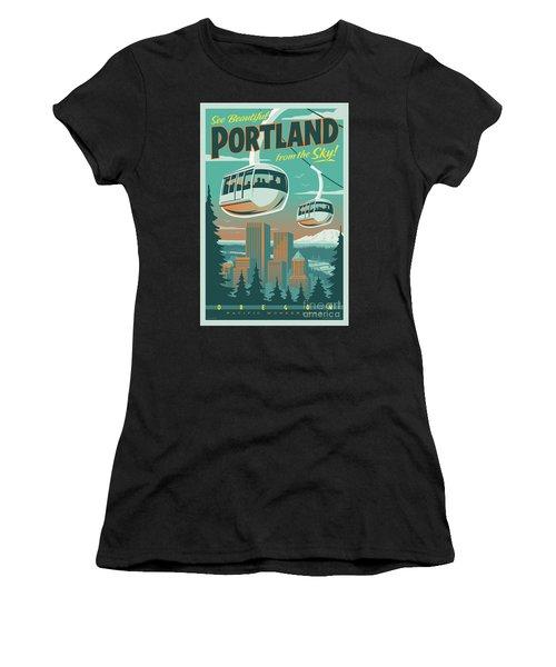 Portland Tram Retro Travel Poster Women's T-Shirt (Athletic Fit)