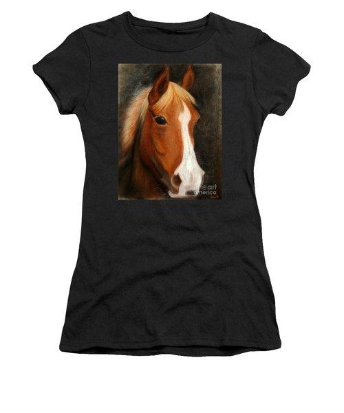 Portrait Of A Horse Women's T-Shirt (Junior Cut) by Jasna Dragun