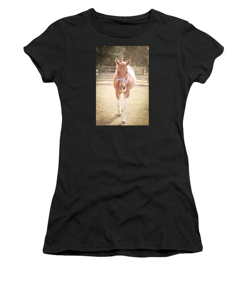 Portrait Of A Light Brown Horse In A Pasture Women's T-Shirt