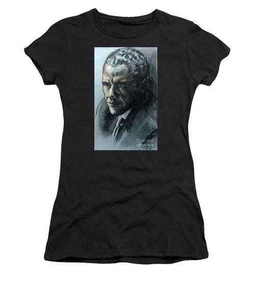 Charcoal Portrait Of President Obama Women's T-Shirt