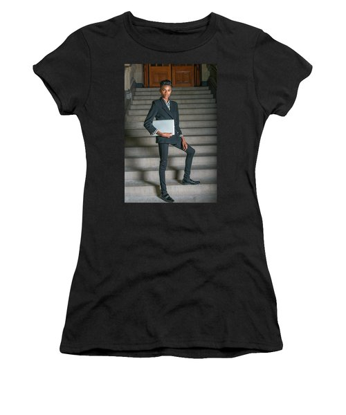Women's T-Shirt (Athletic Fit) featuring the photograph Portrait Of School Boy 1504264 by Alexander Image