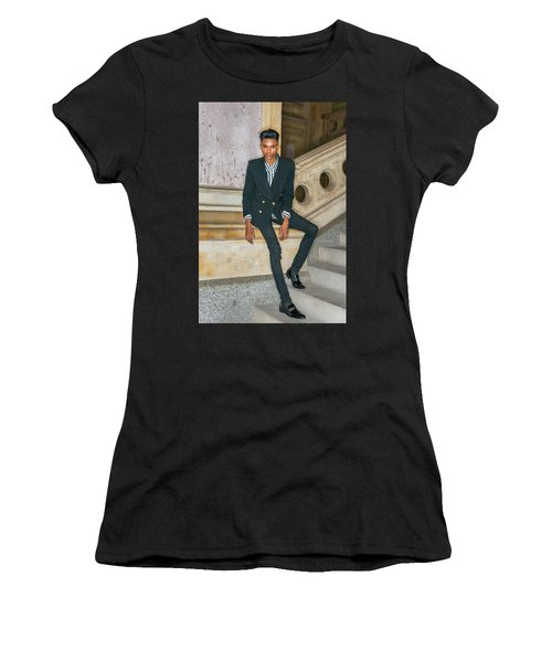 Women's T-Shirt (Athletic Fit) featuring the photograph Portrait Of School Boy 1504265 by Alexander Image