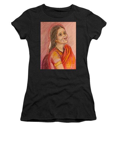 Portrait With Colorpencils Women's T-Shirt (Athletic Fit)