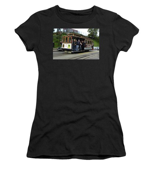 Women's T-Shirt (Junior Cut) featuring the photograph Powell And Market Street Trolley by Steven Spak