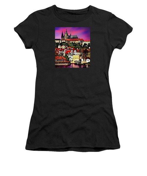 River Front Dining In Prague  Women's T-Shirt