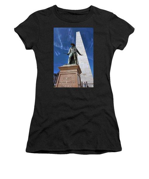 Prescott Statue On Bunker Hill Women's T-Shirt (Athletic Fit)
