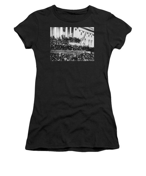 President Lincoln Gives His Second Inaugural Address - March 4 1865 Women's T-Shirt (Junior Cut) by International  Images