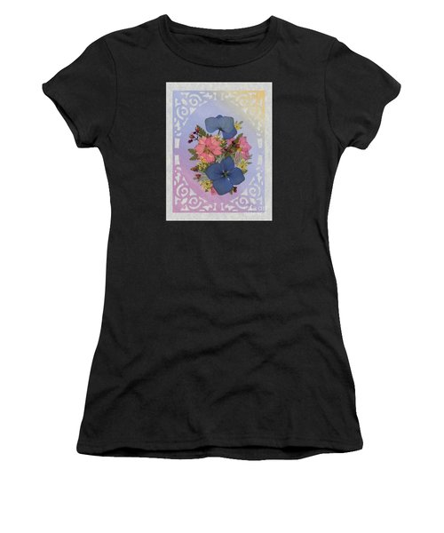 Pressed Flowers Arrangement With Pink Larkspur And Hydrangea Women's T-Shirt
