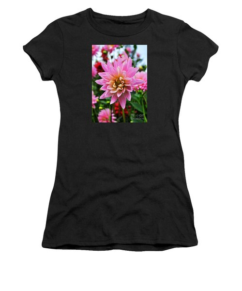Pretty Pink Dahlia  Women's T-Shirt (Athletic Fit)