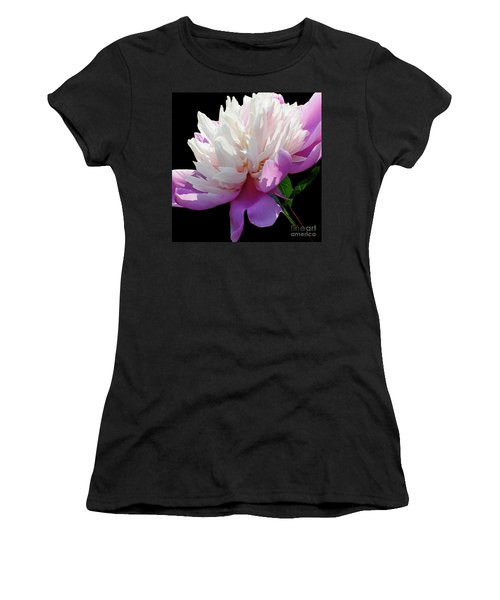 Pretty Pink Peony Flower Wall Art Women's T-Shirt (Athletic Fit)