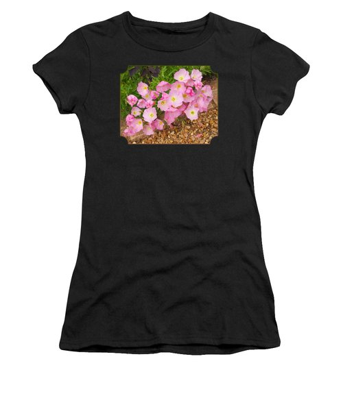 Pretty Pink Rock Roses In The Rain Women's T-Shirt