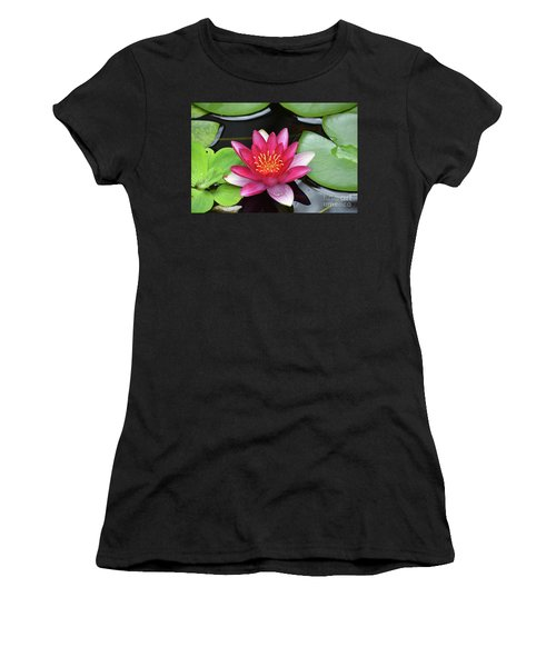 Pretty Red Water Lily Flowering In A Water Garden Women's T-Shirt (Athletic Fit)