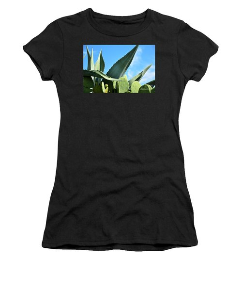 Women's T-Shirt (Junior Cut) featuring the photograph Prickly Pear Cactus And Century Plant by Ray Shrewsberry