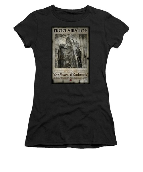 Women's T-Shirt (Athletic Fit) featuring the photograph Proclamation Poster Lord Maxwell by Brad Allen Fine Art