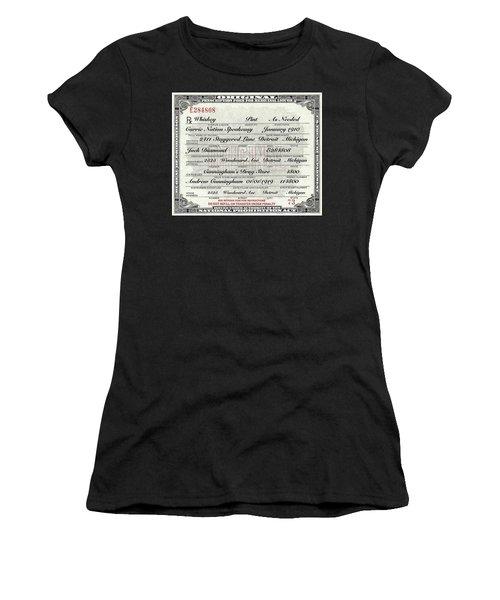 Prohibition Prescription Certificate Carrie Nation Speakeasy Women's T-Shirt