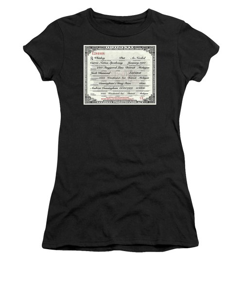Prohibition Prescription Certificate Carrie Nation Speakeasy Women's T-Shirt