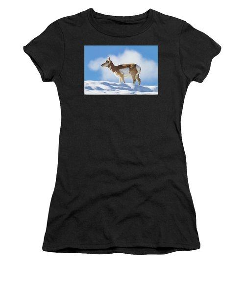 Pronghorn Doe On Snowy Ridge Women's T-Shirt