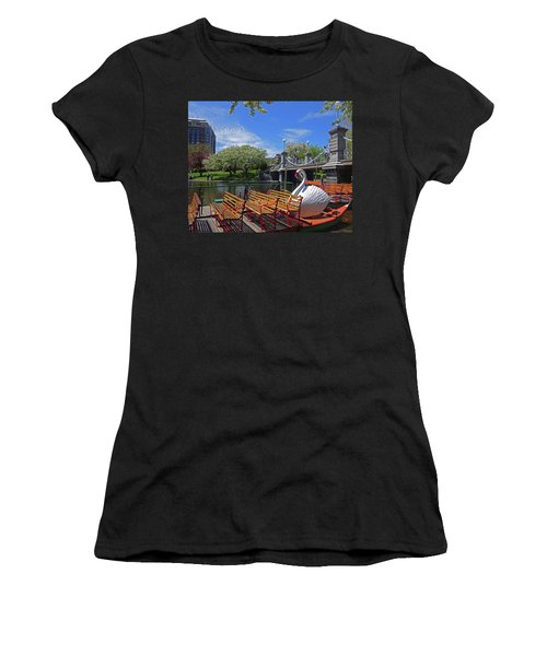 Public Garden Swan Boat In The Spring Boston Ma Women's T-Shirt