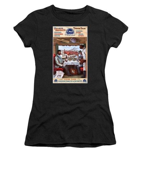 Pullman Compartment Cars Through Trains, Cincinnati, Hamilton Dayton Rail Road Advertising Poster, 1894 Women's T-Shirt