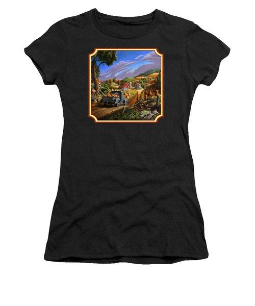 Pumpkins Farm Folk Art Fall Landscape - Square Format Women's T-Shirt