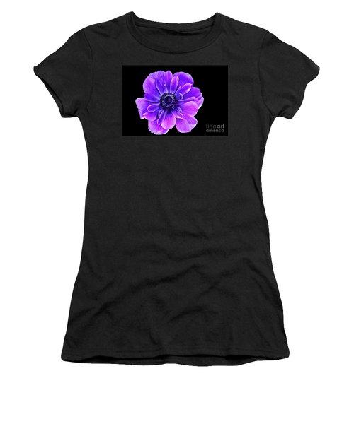 Purple Anemone Flower Women's T-Shirt (Junior Cut) by Mariola Bitner