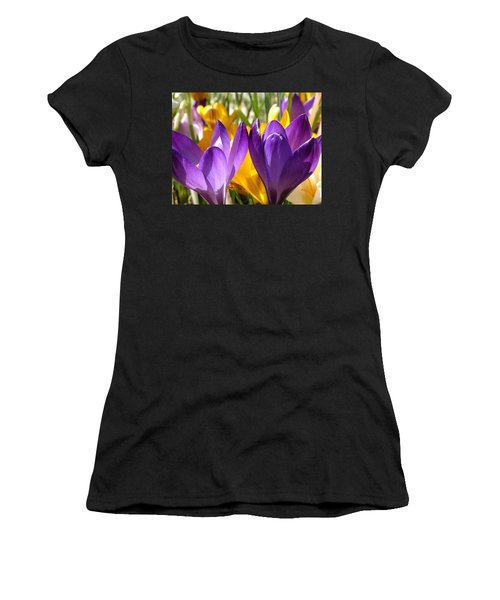 Purple Crocuses Women's T-Shirt (Athletic Fit)