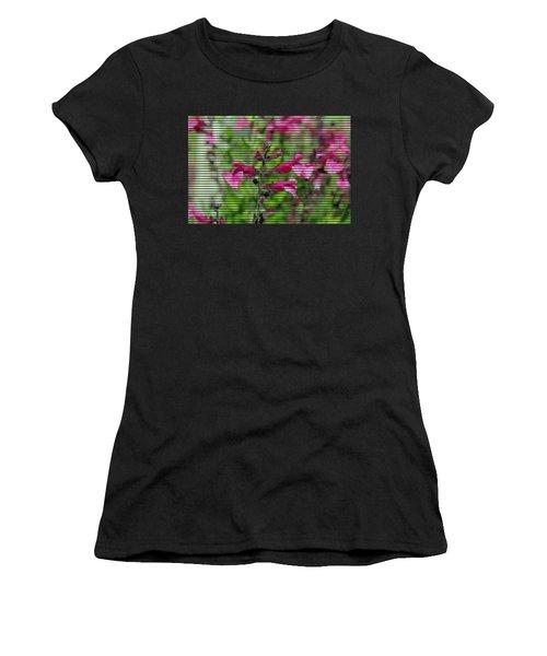 Purple Flower T-shirt Women's T-Shirt (Athletic Fit)