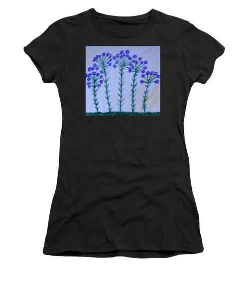 Purple Flowers On Long Stems Women's T-Shirt (Athletic Fit)