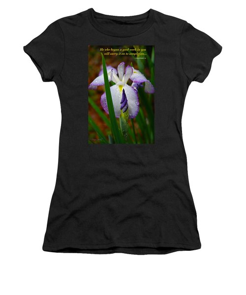 Purple Iris In Morning Dew Women's T-Shirt (Junior Cut) by Marie Hicks