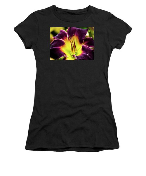 Women's T-Shirt featuring the photograph Purple Lily - Close Up by Penny Lisowski