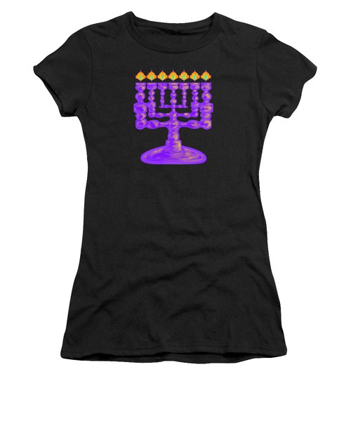 Purple Menorah Flamed Women's T-Shirt (Athletic Fit)