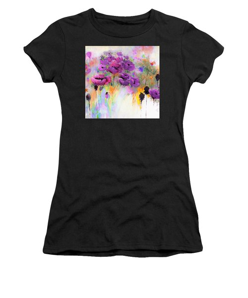 Purple Poppy Passion Painting Women's T-Shirt (Athletic Fit)