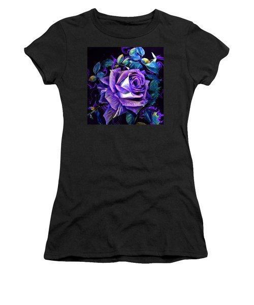 Purple Rose Bud Painting Women's T-Shirt