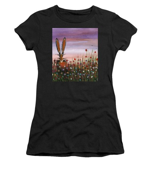 Purple Sunset Hare Women's T-Shirt (Athletic Fit)