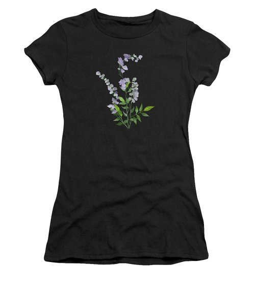 Women's T-Shirt featuring the painting Purple Tiny Flowers by Ivana Westin