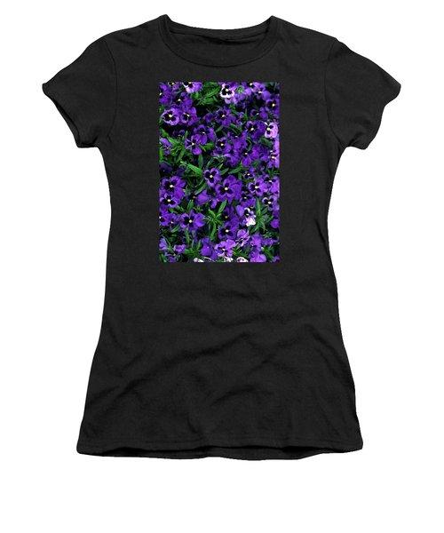 Purple Viola Flowers Women's T-Shirt (Junior Cut) by Sally Weigand