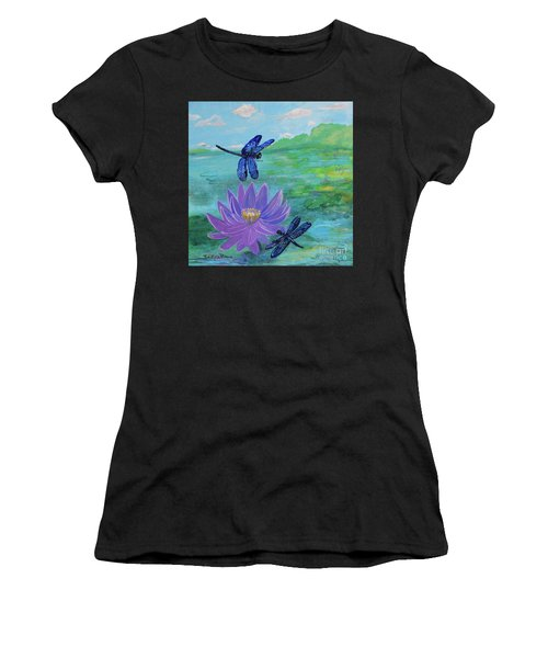 Purple Water Lily And Dragonflies Women's T-Shirt