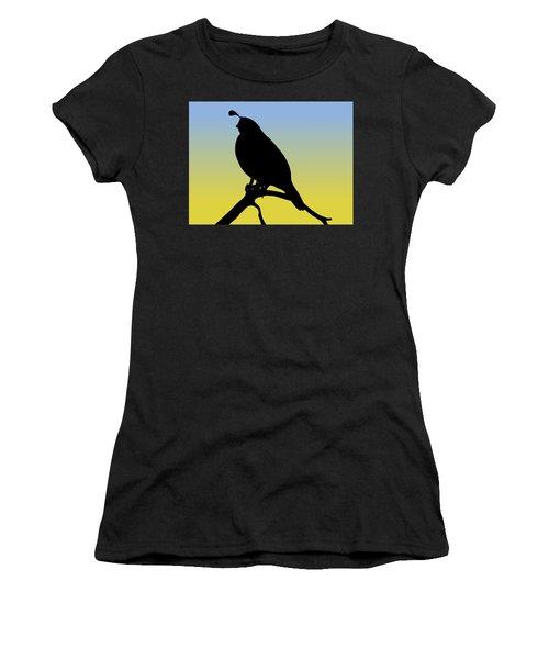 Quail Silhouette At Sunrise Women's T-Shirt (Athletic Fit)
