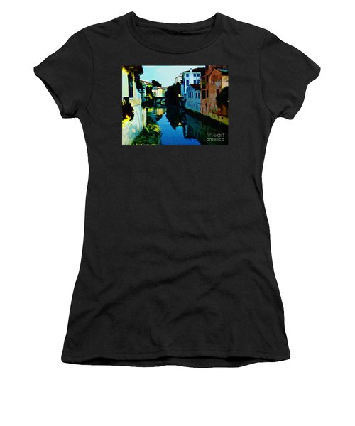 Women's T-Shirt (Junior Cut) featuring the photograph Quaint On The Canal by Roberta Byram