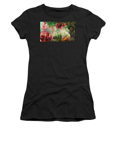 Women's T-Shirt (Athletic Fit) featuring the digital art Qualia's Jungle by Russell Kightley