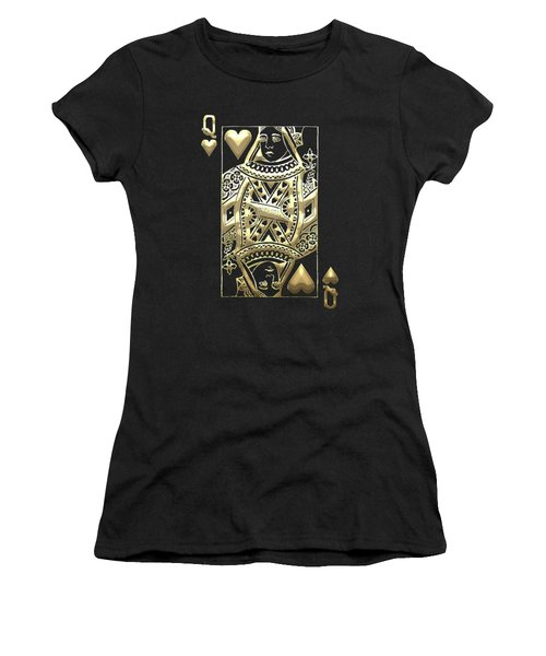 Queen Of Hearts In Gold On Black Women's T-Shirt