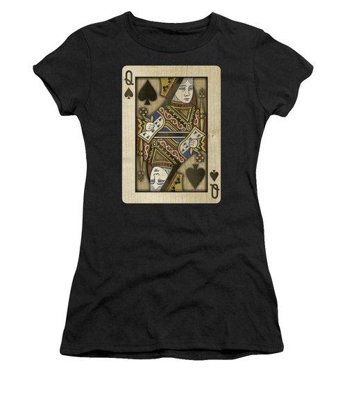 Queen Of Spades In Wood Women's T-Shirt