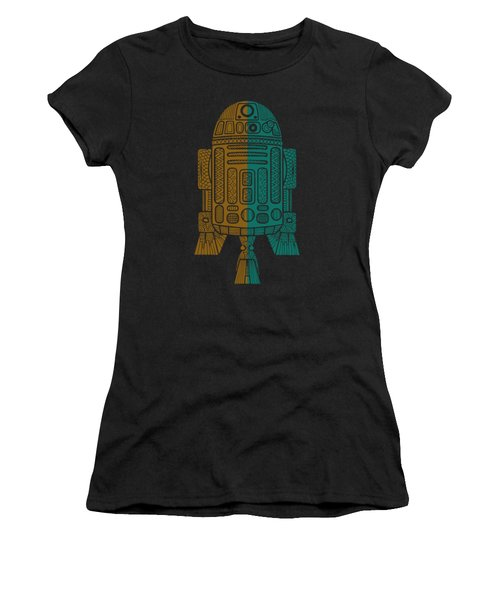 R2d2 - Star Wars Art - Brown, Blue Women's T-Shirt (Athletic Fit)