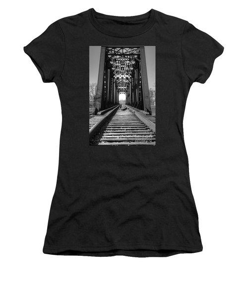 Railroad Bridge Black And White Women's T-Shirt (Athletic Fit)
