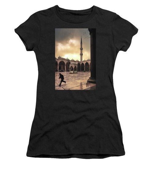 Rain At The Blue Mosque Women's T-Shirt
