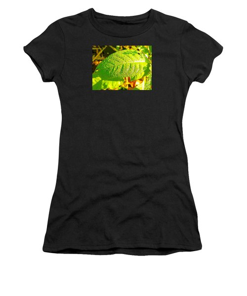 Rain On Leaf Women's T-Shirt (Athletic Fit)