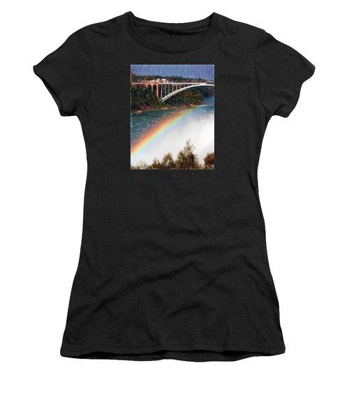 Rainbow Bridge - Niagara Falls Women's T-Shirt (Junior Cut) by John Freidenberg