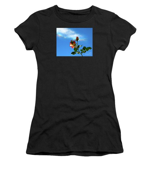 Rainbow Cloud And Sunlit Roses Women's T-Shirt (Athletic Fit)