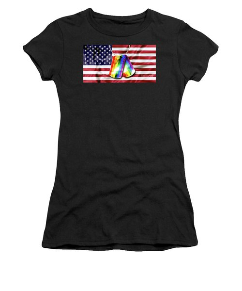 Rainbow Dog Tags Women's T-Shirt (Athletic Fit)
