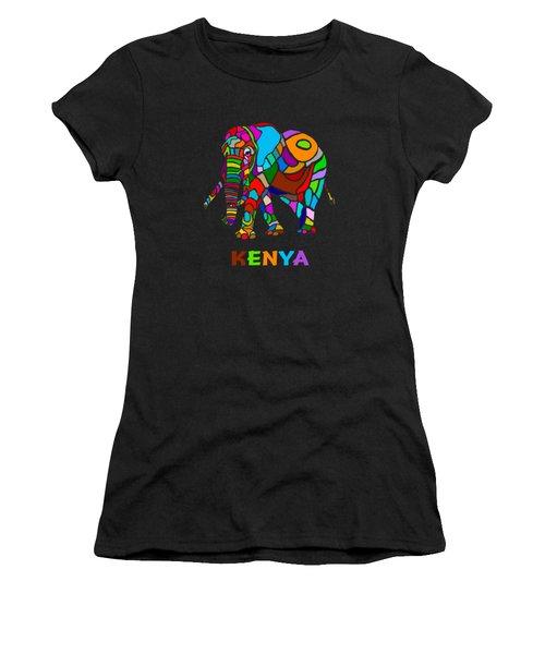 Women's T-Shirt (Junior Cut) featuring the digital art Rainbow Elephant by Anthony Mwangi